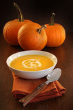Delicious pumpkin soup with cream stock photography