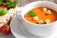 Delicious pumpkin soup with crispy croutons Royalty Free Stock Photos