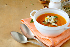 Delicious pumpkin soup in a white tureen Royalty Free Stock Photography