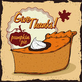 Delicious Pumpkin Thanksgiving Pie Poster, Vector Illustration Stock Image