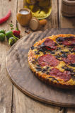 Delicious quiche with chorizo, nuts and sharp cheese Royalty Free Stock Photography