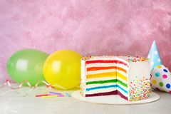Delicious rainbow cake for party Stock Images