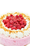 Delicious raspberry cake. Delicious desserts - raspberry cake with almonds. Isolated on white background Royalty Free Stock Photography