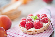 Delicious raspberry cake. Sweet tartelette with pudding and raspberries Royalty Free Stock Photo