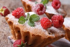 Delicious Raspberry Cupcake with mint closeup on wooden Stock Photography