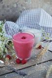 Delicious raspberry smoothie or milk shake with fresh berries. F Stock Photo