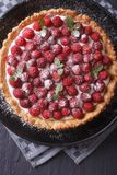 Delicious raspberry tart with whipped cream vertical top view cl Stock Image