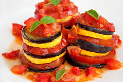 Delicious Ratatouille on a white plate Stock Images