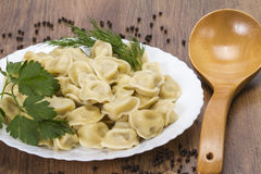 Delicious ravioli with broth. Hot dumplings with broth on a plate with a spoon Royalty Free Stock Photo
