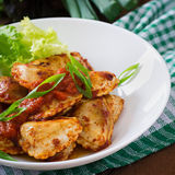 Delicious ravioli with tomato sauce Stock Images