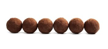 Delicious raw chocolate truffles stock photo