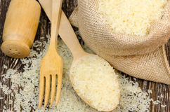 Delicious raw rice for healthy diet. Royalty Free Stock Image