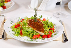 Delicious Recipe on Frisee Lettuce on White Plate Stock Images