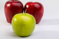 Delicious Red Apples and Granny Smith Apple. On white background stock image
