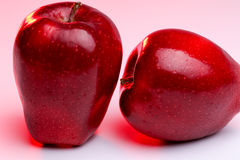 Delicious Red Apples on Red Lighting Royalty Free Stock Photos