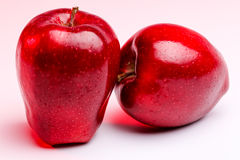 Delicious Red Apples on Red Lighting Royalty Free Stock Images