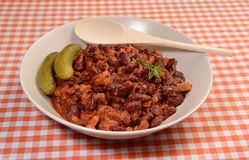 Delicious red beans dish. With pickles Royalty Free Stock Image