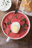 Delicious red beet soup with egg and sour cream top view royalty free stock images