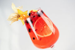 Delicious red cocktail with fruits. In studio Royalty Free Stock Photography