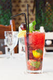 A delicious red cocktail with mint Stock Images