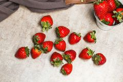 Delicious red strawberries in a galvanized bucket stock images