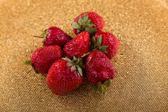 Delicious red strawberries on the plate. Beautiful supply of fruit. Photo for culinary magazines, posters, backdrops and websites Royalty Free Stock Image