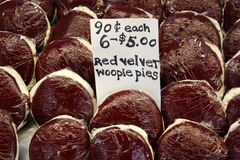 Delicious red velvet whoopie pies at farmers market Stock Photography