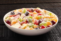 Delicious Refreshing creamy fruit salad Stock Photo