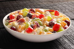 Delicious Refreshing creamy fruit salad Stock Images