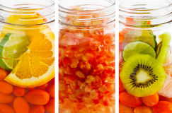 Delicious refreshing drink of mix fruits vibrant vertical stripes, infusion water Royalty Free Stock Photos