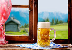 Delicious refreshing tankard of Bavarian beer Stock Photography