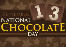 Delicious Reminder Date for National Chocolate Day with Starry Background, Vector Illustration. Delicious poster all covered in chocolate with starry background Royalty Free Stock Image