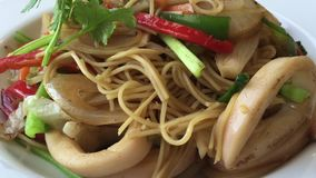 Delicious rice noodles with seafood stock footage