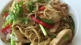 Delicious rice noodles with seafood stock video footage