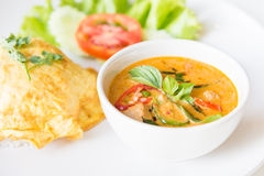 Delicious rice and red curry with pork and omelet (Thai panang c Royalty Free Stock Photo