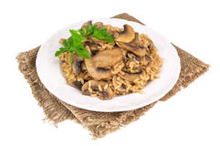 Delicious Rice With Mushrooms Stock Image