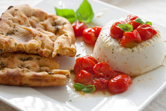 Delicious ricotta with focaccia Stock Photos