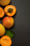 Delicious ripe apricots on black shale background Royalty Free Stock Image