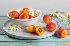 Delicious ripe apricots in a bowl on the wooden table. Close-up Stock Photography
