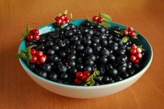 Delicious ripe blueberries in a blue Cup standing on table Stock Photo