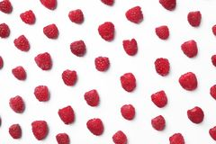 Delicious ripe raspberries on white background. Top view Royalty Free Stock Photos
