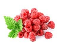 Delicious ripe raspberries on white background. Top view Royalty Free Stock Photo
