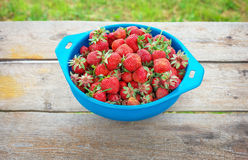 Delicious ripe strawberries on the bowl Stock Photography
