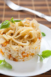 Delicious risotto with onions and pumpkin. Closeup rice Stock Photography