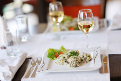 Delicious risotto with tomato and lettuce Royalty Free Stock Image