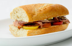 Delicious roast beef sandwiches with heirloom tomatoes Stock Image