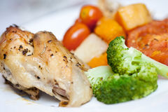 Delicious roast chicken with broccoli Stock Photography