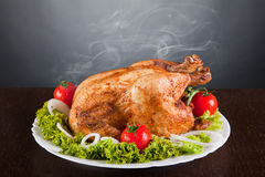 Delicious roast chicken with red tomatoes stock photo