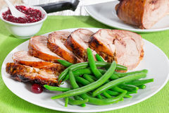 Delicious roast in oven turkey roulade cut in slices Royalty Free Stock Photography