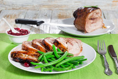 Delicious roast  in oven turkey roulade with green bean Stock Photography